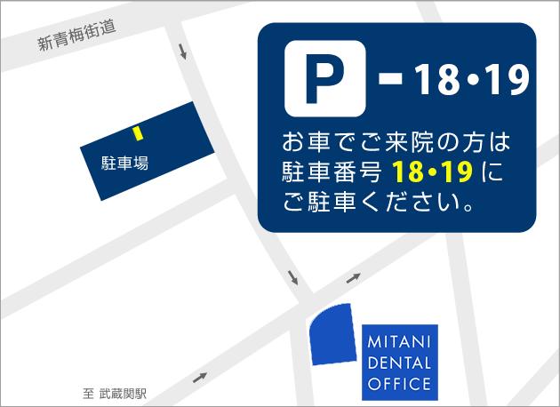 練馬区武蔵関、みたに歯科医院の駐車場のご案内